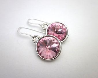 Light Pink Drop Earrings -- Silver & Light Pink Earrings -- Light Rose Pink Earrings -- Light Pink Crystal Earrings -- Swarovski Earrings