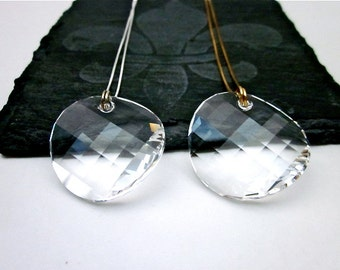Clear Crystal Pendant Necklace -- Large Crystal Pendant Necklace -- Clear Swarovski Necklace -- Round Clear Necklace --Crystal Disc Necklace
