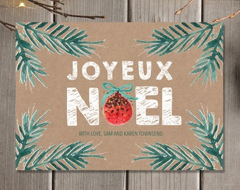 Joyeux Noel Rustic Holiday Greeting Card / Family Christmas Card / Printable Digital Christmas Card / Business Christmas Cards