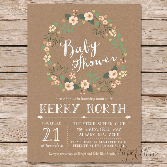 rustic baby shower invitation floral wreath baby shower invitations