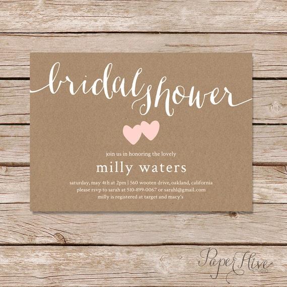 rustic bridal shower invitation bridal shower invitation printable invitation printed invites
