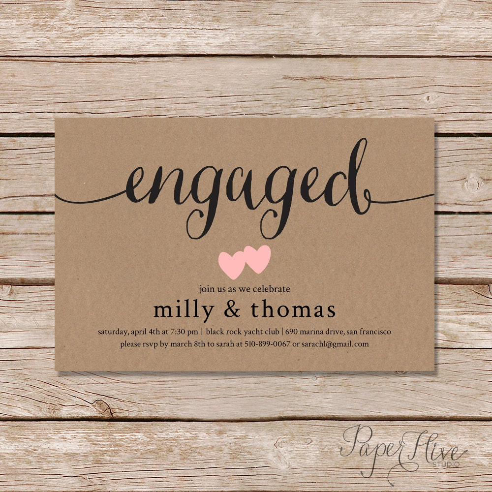 engagement invite OnePaperHeart Stationary Invitations