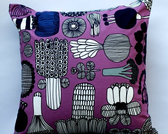 16x16 Purple pillow with vegetable Marimekko pattern | Casual throw pillow | Purple pillow | Marimekko Pillow | Whimsical Pillow