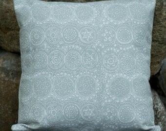 "Marimekko Decorative Pillow Cover, Double-sided, Upholstery weight. White/Light Grey pillow, 16""x16"" (40x40cm)"