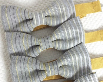 Gil - Yellow/Gray Striped Men's Pre-Tied Bow Tie or Self-Tied Bow Tie