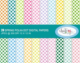 Polka dot digital papers, digital scrapbook papers, polka dot backgrounds, scrapbook patterned papers for commercial use, p222
