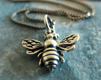 Silver Bee Necklace - Petite Bumblebee Necklace - Sterling Silver - Bee Necklace - Bee Jewelry