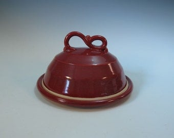 Red Covered Butter or Cheese Dish - In Stock - Hand made