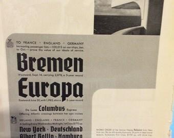 1935 Hamburg American Line New York Deutschland. 10 x 7.