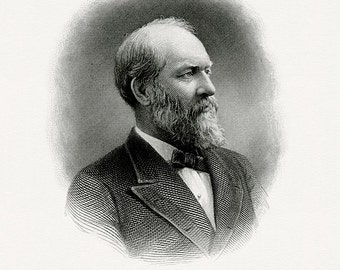 Bureau of Engraving and Printing reproduction Intaglio engraving 8 x 10 James Garfield