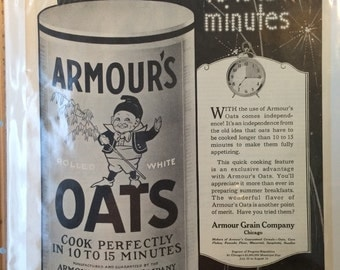 Armour's Oats print ad circa 1921 Chicago 13 x 10. Original ad.