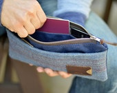 NO. 212 Personalized Zipper Pouch, Travel, Passport, Handmade, Blue Waxed Cotton Canvas, Striped Ombre Wool, and Horween Leather