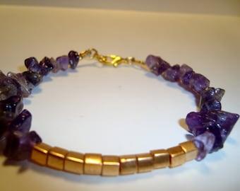 Amethyst and Gold Beaded Bracelet - BOHO Design - Natural Gemstone Chip Beads - Make a Statement - Size Choice -  Stacking Bracelet -SRAJD