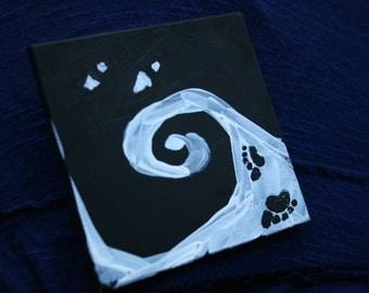 The Dance - mini painting - free will - footprints - Yin Yang -  symbolic art - magnetism -  black and white art - Lemurian Diamond, Bibi
