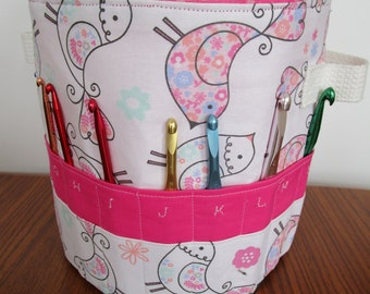 Sewing Basket, Crochet Basket, Craft Tote Sewing PATTERN Fabric Basket, BOTH Large/Small included , Storage basket bin, Craft caddy