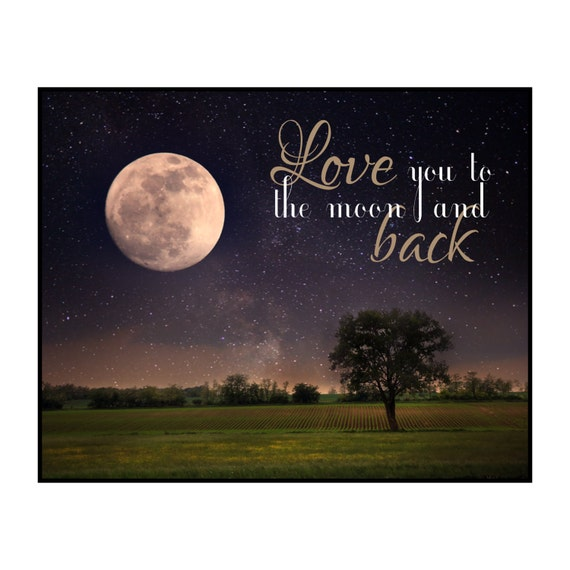 Love You To The Moon And Back Printed Wood Sign Wall Decor 12x15