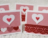 Handmade Pink and Red Mini Valentines Gift Tags Handmade Set of 20