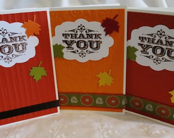 Handmade Thank You Cards in Autumn Hues  Set of Eight Clearance