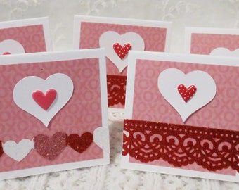Mini note cards, handmade tags, Valentine's day, pink and red with hearts, glittery heart border, set of 20
