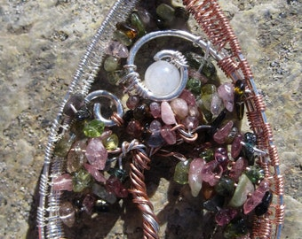 Midsummer's Night///Tourmaline, Moonstone, Copper, Sterling Silver Tree of Life Wire Wrap Pendent, Art, Heady, One of a Kind, Handmade