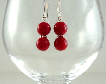 Bright Red Earrings Red Czech Glass Earrings Red Drop Earrings Red Silver Earrings Bright Red Bead Earrings Red Glass Bead Earrings