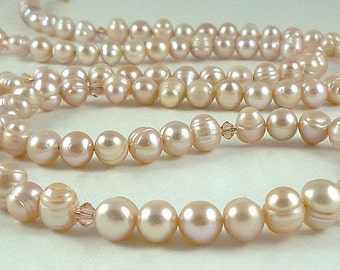 Long Pearl Necklace Freshwater Pearl Necklace Pale Peach Freshwater Pearl Necklace Pearl Crystal Necklace Beaded Long Pearl Strand