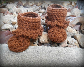 Warm Brown Baby Moccasins / Booties in 100% Cotton 0-3 Months