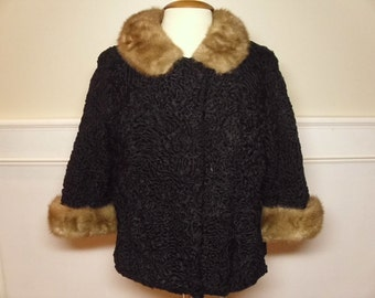ON SALE  Vintage 1950's/1960's Lambswool Jacket w/Mink Collar & Cuffs