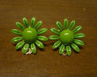 Vintage 1960's Green Enamel Flower Earrings