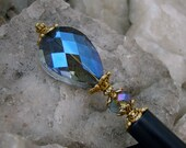 Deep Blue Crystal Teardrop Hair Stick with Blue AB Crystal Rondelle and Gold Plate Accents - Jewel