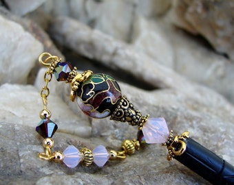 Hair Stick Abstract Floral Cloisonne and Swarovski Crystal Geisha Style Hairstick - Chatzie