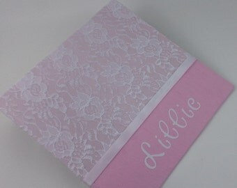 BABY BOOK Baby Memory Book Girl Baby Book Personalized Memory Book Custom baby book Pregnancy growth Journal Record Book Pink White lace