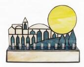 Hanukkah Menorah Stained Glass Judaica Candle Holder Handmade OOAK