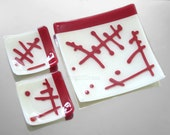 Red White Glass Platter SET Fused Glass Plate Abstract Hieroglyphs Serving Dish Sushi Organic Design HandmadeFused Glass