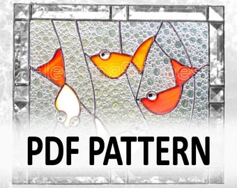 PDF Pattern for Stained Glass - Four Gold Fish FleetingStillness Original Design