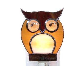 Owl Stained Glass Nightlight Night Light Brown Beige Nursery Handmade OOAK