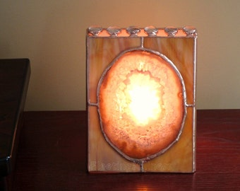 Agate Stained Glass Lamp Brown Agate Geode Night Light Mens Handmade OOAK