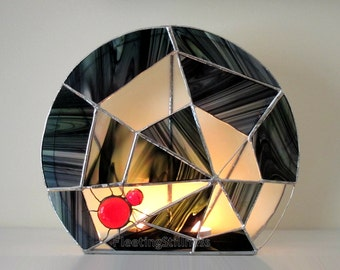 Halloween Stained Glass Candle Holder Decoration Spider Web Wicca Black Red White Handmade OOAK
