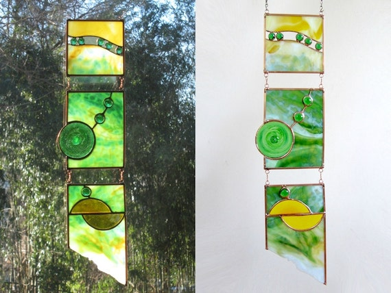 Green Stained Glass Panel Geometric Green Stained Glass Window Panel Handmade OOAK
