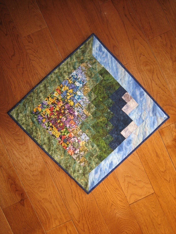 Art Quilt, Blue Tahoe Skies Flower Field Mountain Quilted Fabric Wall Hanging Handmade