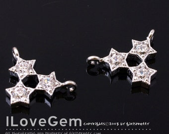 NP-1597 Rhodium Plated, Triple Star CZ, Pendant, 2pcs
