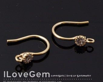 SALE / 20pcs / NP-1651 Gold Plated, 10mm Earwire with 3mm CZ, Clear