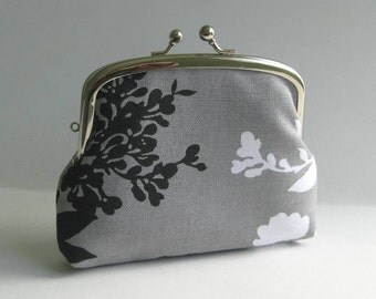 Double Frame Purse in Gray with Black and White Branch Blossoms