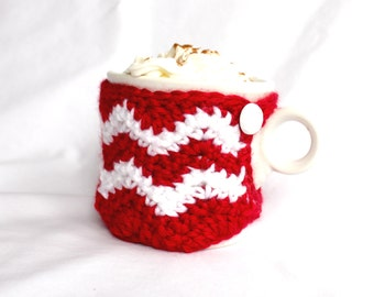 Red and white Chevron Mug Cozy, Cup Cosy Crochet