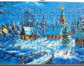 Hand Cut Wooden Christmas Scene Jigsaw Puzzle (41 pieces) with Plywood Storage Box -- FREE US SHIPPING