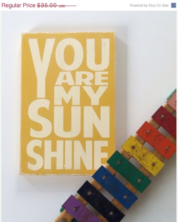FLASH SALE - You Are My Sunshine Sign Typography Word Art in  Straw Heavily Distressed Small Size