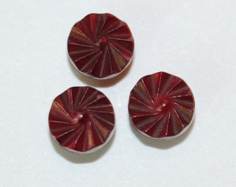 Carved Tiny RUBY RED Pearl Buttons - Shanks 8mm