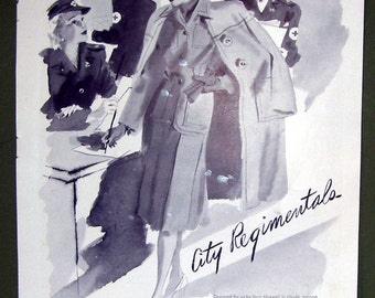 Lord and Taylor Black and White Ladies Coat Ad, Magazine Print Ad, City Regimentals, Misses Suit and Coat Shop, New York and Manhasset