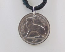 Small Rabbit Coin Necklace, Irish Coin, 3 Pingin, Coin Pendant, Irish Harp, Leather Cord, Men's Necklace, Women's Necklace, 1942