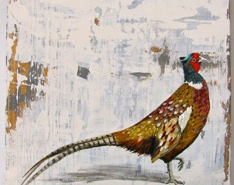 Pheasant, Walk in the Woods original acrylc painting on re-purposed wood
